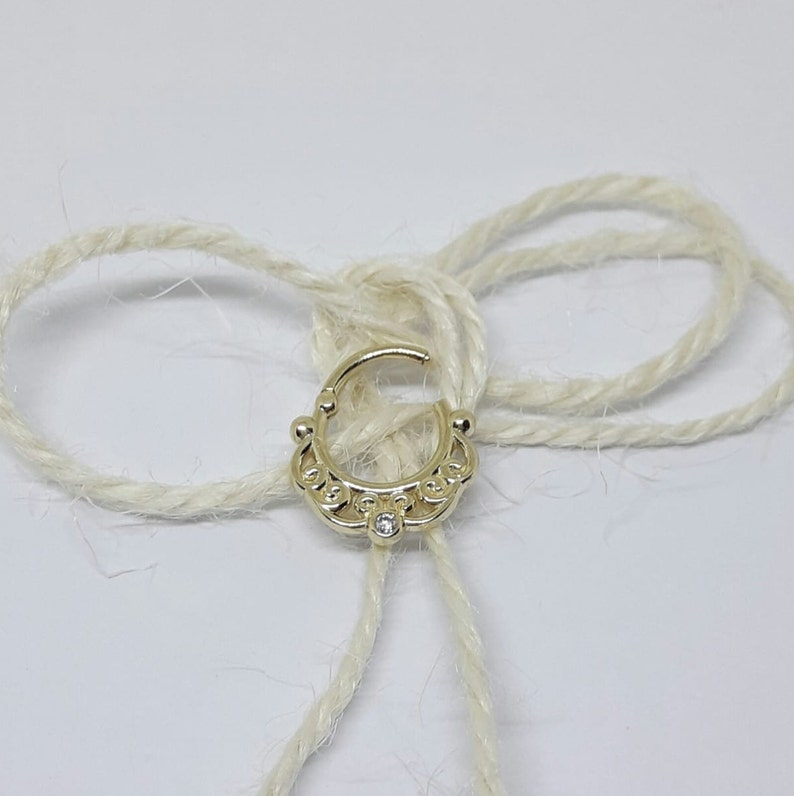 14k Solid gold nose ring nose hoop septum jewelry helix earring White Diamond septum piercing Septum Clicker septum ring