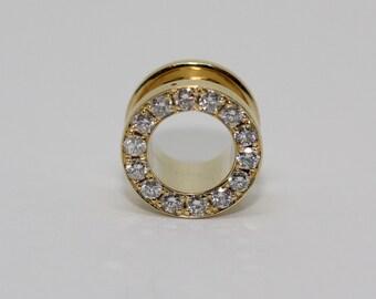 Ear Tunnels - Tunnels 14k - Ear Plugs - Price For One Tunnel -Gold Ear Tunnels - Gold Tunnel - Black/White Diamonds - gauges ear - plugs 14k