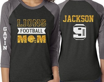 5cbd39880 Glitter Mom Football Shirt | Football Shirt | 3/4 Sleeve Raglan | Customize  with your Team & Colors