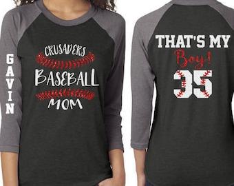 Glitter Baseball Mom 3/4 Sleeve Shirt|Customized Baseball Mom Shirt