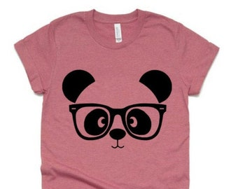 Panda Shirt    Panda Bear Shirt   Panda with glasses   Youth or Adult