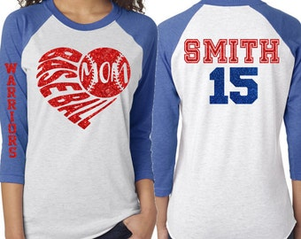 Glitter Baseball Mom Heart 3/4 Sleeve Shirt|Customized Baseball Mom Shirt
