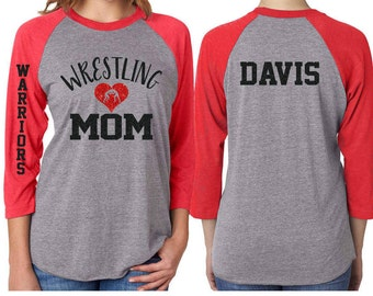 Glitter Wrestling Mom Baseball Shirt 3/4 Sleeve Raglan  Customize with your Team & Colors