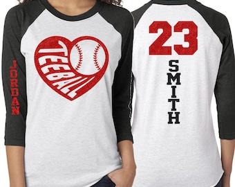 009518dcfd Glitter Tee-Ball Shirt | T-ball Heart Shirt | Customize Colors | Youth or  Adult