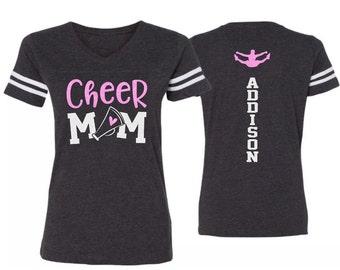 9aeb2d0f8581 Glitter Cheer Mom Shirt | Cheer Mom V-neck Short Sleeve Shirt | Cheer Bling