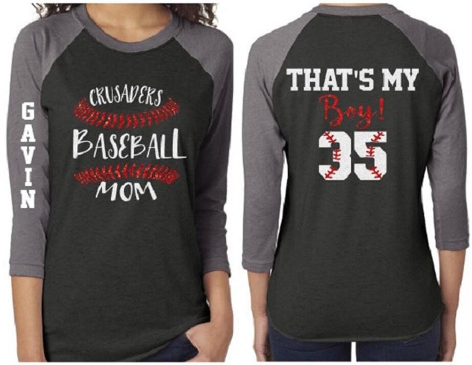 b4cdf3509 Baseball Laces Shirt   Glitter Baseball Stitch Mom 3/4 Sleeve Raglan Shirt    Customize Team & Colors