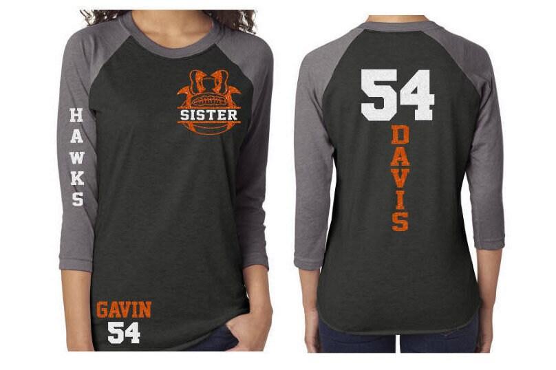 333c2966 Glitter Football Mom Shirt   3/4 Sleeve Baseball Shirt   Customize with  your Team & Colors Mom, Aunt, Grandma, Cousin, Sister