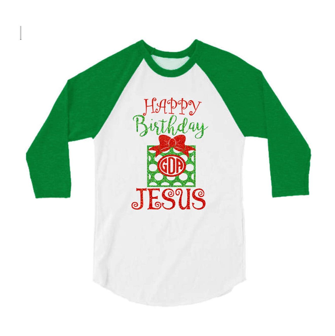 Glitter Christmas Shirt Happy Birthday Jesus