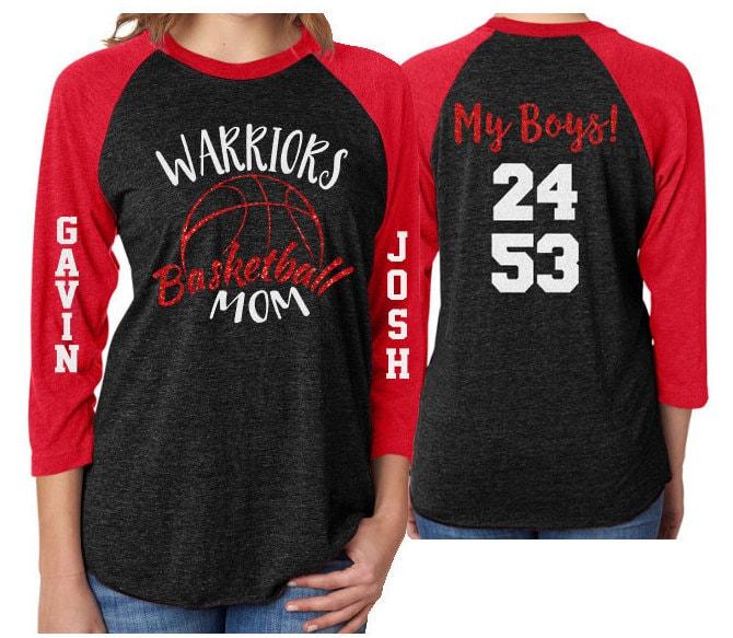 66a88ca1fac Glitter Basketball Mom Shirt   Two Numbers   Two Players  Customized 3/4 Sleeve  Raglan   Basketball Shirt Grandma, Aunt, Stepmom
