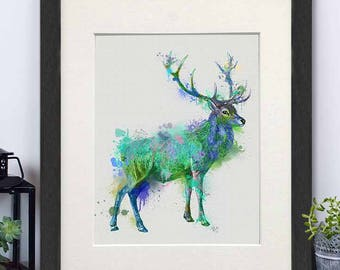 Hunting gift - Deer full green and blue print - Deer hunting Hunting print Cabin decor Lodge decor Watercolor painting Woodland print