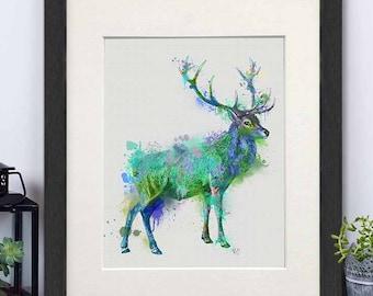 Woodland deer - Deer full green and blue Print - Deer painting Deer wall art Deer art decor Deer poster Stag print Uk shop Deer print art