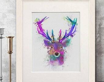 Deer art decor - Deer pink and purple print - Deer print art Deer head art print Deer wall art Deer poster Woodland deer Stag wall art