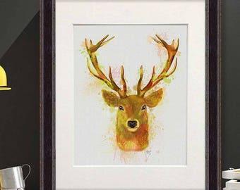 Deer art - Deer head red and gold print - Deer decor Woodland deer Deer painting Deer home art print Stag print Deer head print Uk seller