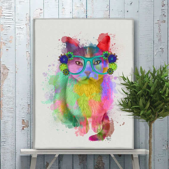 Cat Painting Modern Wall Art Neon Art Mothers Day Gift Geeky Etsy