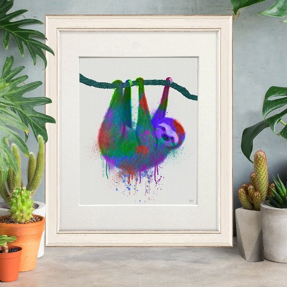 Sloth Print Sloth Gifts Tropical Animal Art Rainforest Animals Etsy