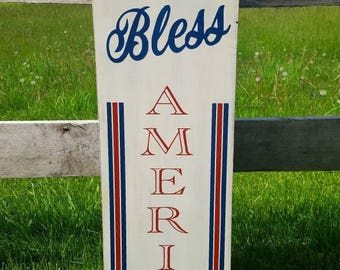 God Bless America Wood Sign-up Flag / Holiday / Home Decor / Porch / Fourth of July / Patriotic / Red Whit Blue