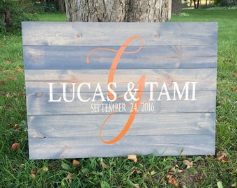 Initial Alternative Rustic Wood Guestbook - Wedding/Bridal Shower/Rustic/Country/Sign/Pallet/Custom Order/ Personalize/Name