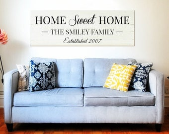 Home sweet home established sign   How Sweet Home Reclaimed Wood   Large Wall Decor   Custom sign for home   Est year sign   Family name