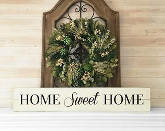 Home sweet home   Reclaimed Wood   Farmhouse   Long skinny sign   Large sign for kitchen   Big sign for home   Sign with saying   Home sign
