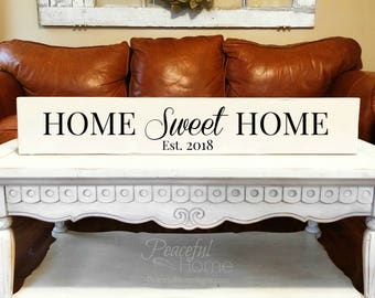 Home sweet home sign   Est year   Reclaimed Wood   Established sign  Long sign   Sign with phrases   Big Sign Gift   New home sign