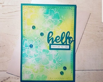 Handmade 'Hello' card. Just because card, thank you card, floral card, blank card