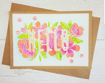 Botanical floral Hello card. Any occasion card, just because card, thank you card, handmade card