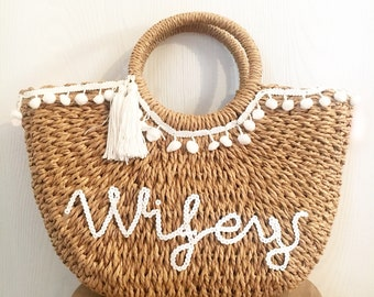 Personalised Straw Ladies and Childrens Beach Bag Honeymoon bag c658636bb99f