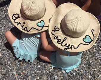 Childrens personalised straw hat 21bc5cd8fb9