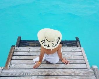 Personalised Honeymoon Hat Ladies Bride
