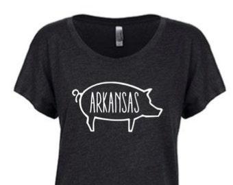 Arkansas Pig Dolman Shirt, Football, College Football, Razorbacks, Hog Shirts, Razorback Football, Woo Pig Sooie, Hog Football, Arkansas