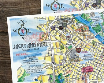 Hand Painted Guest Map, Wedding Information, Wedding Maps Custom, Minneapolis Personalized Wedding Maps