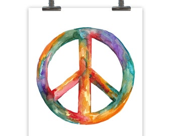 Peace Sign for Bedroom Art, Watercolor Wall Decor, Colorful Art Print, Watercolor Illustration Peace Sign Wall Decor, Choose Size Print