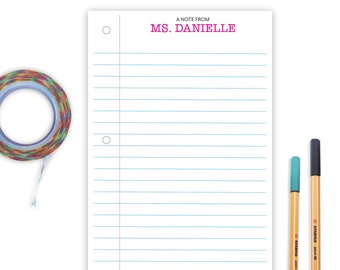 Lined Notepad for Teacher Appreciation, Teacher Gift, Notebook Paper Pad, Cute Teacher Gift for Him and Her, Teacher Aide Gift for School