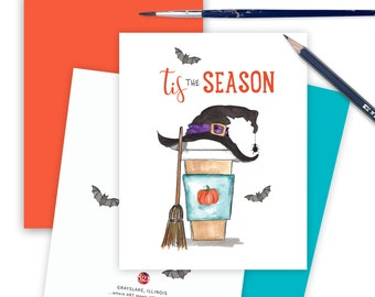 Halloween Card for Friends, Thinking of You Coffee Lovers Halloween Greeting Card, Pumpkin Spice Latte, Happy Halloween Pumpkin Card SPICE