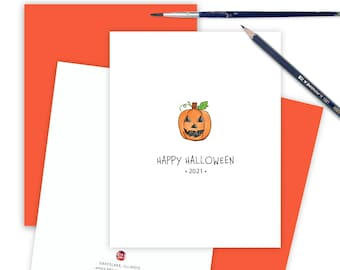 Dated Pumpkin Card for Friends, Thinking of You, Funny Halloween Greeting Card, Cute Card for Kids First Happy Halloween Card MP2021