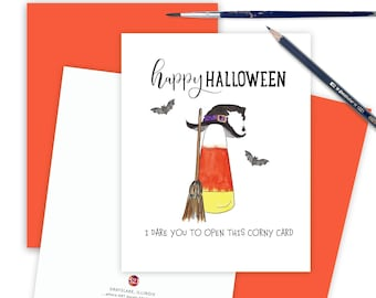 Thinking of You Card, Halloween Lover Candy Corn Halloween Greeting Card, Halloween Card for Friends, Cute Kids Happy Halloween Card CORNY