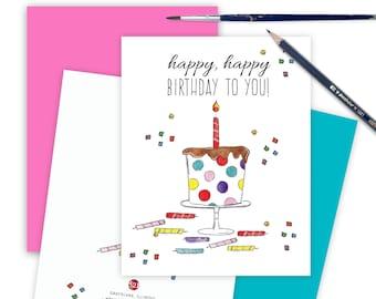Whimsical Birthday Card, Happy Birthday Greeting Card, Fun Cake Birthday Card, Generic Birthday Card, Cute Happy Birthday Note HAPHAP