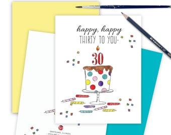 Thirtieth Funny Birthday Card for CoWorker, Milestone 30th Birthday Card, Greeting Card for Friend, Happy Thirtieth Celebration Card Age 30