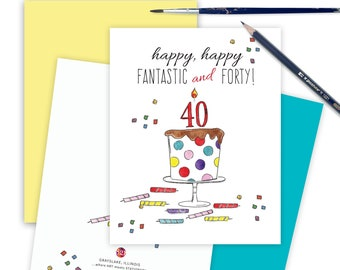 40th Funny Birthday Card for Friends, Milestone 40th Birthday Card, Greeting Card, Forty Celebration Card, Special Card for Friend 40