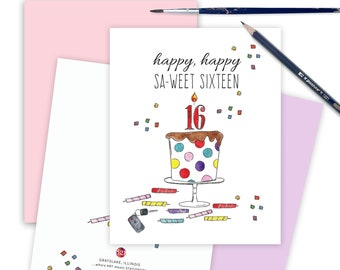 Sweet Sixteen Funny Birthday Card for Daughter, Milestone 16th Birthday Card, Greeting Card for Friend, Sweet 16 Celebration Card Age 16