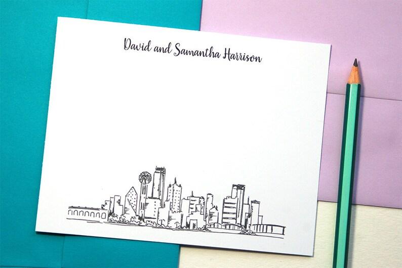 Bridal Shower Gift Dallas Skyline Art Personalized Stationery Set Mens Stationary Set of 12 Wedding Thank You Cards