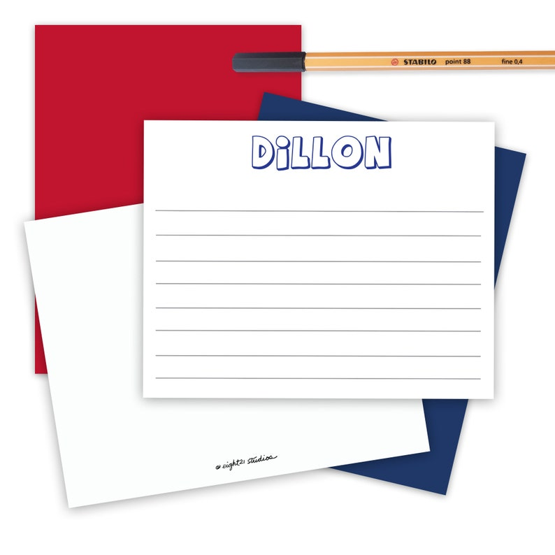Camp Stationery for Boys Birthday Thank You Card Simple Flat Notes for Kids Personalized Stationary Set