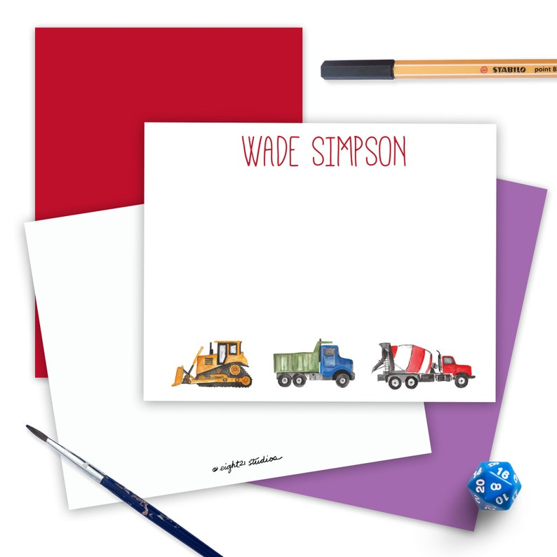 Construction Trucks Kids Personalized Stationery Set of 12 with Envelopes Gifts for Birthday Thank You Cards Gift for Kids Note Cards
