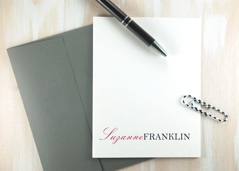 New Job Gift Personalized Office Gifts Executive Desk Set Womens Gift for Boss Girl Thank You Cards Personalized Stationery Set of 10