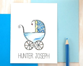 Baby Boy Thank You Cards, Baby Shower, Its a Boy Card, Baby Boy Thank You Notes
