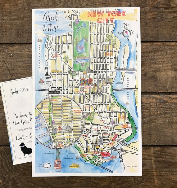 Watercolor New York: Watercolor Wedding Map Hand Drawn New York Illustrated Map
