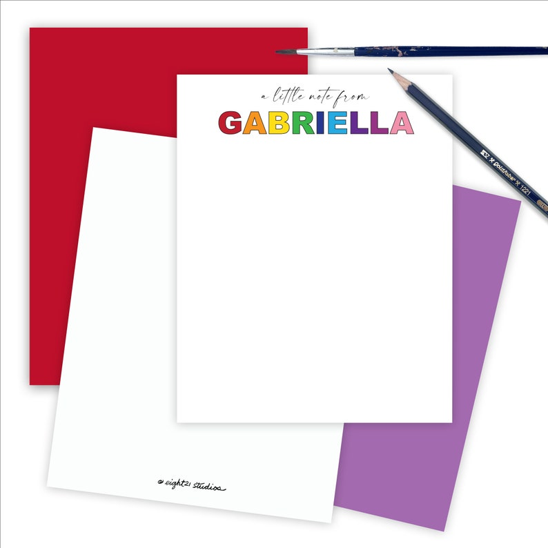 Personalized Stationery Set Gift Idea Cute Notes Rainbow Note Cards for Girls Stationary Set of 12 Flat Note Cards and Colorful Envelopes