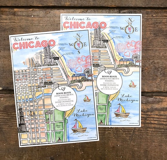 Watercolor Wedding Map Chicago Hand Painted Guest Map Etsy