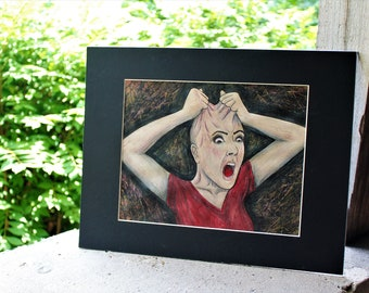 Anxiety Disorder Creepy Portrait Face Drawing Colored Pencil Pen
