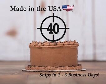 Crosshairs Cake Topper Gun Site Any Age Deer Antler Hunters Birthday Acrylic Boys Hunting Mans LT1071